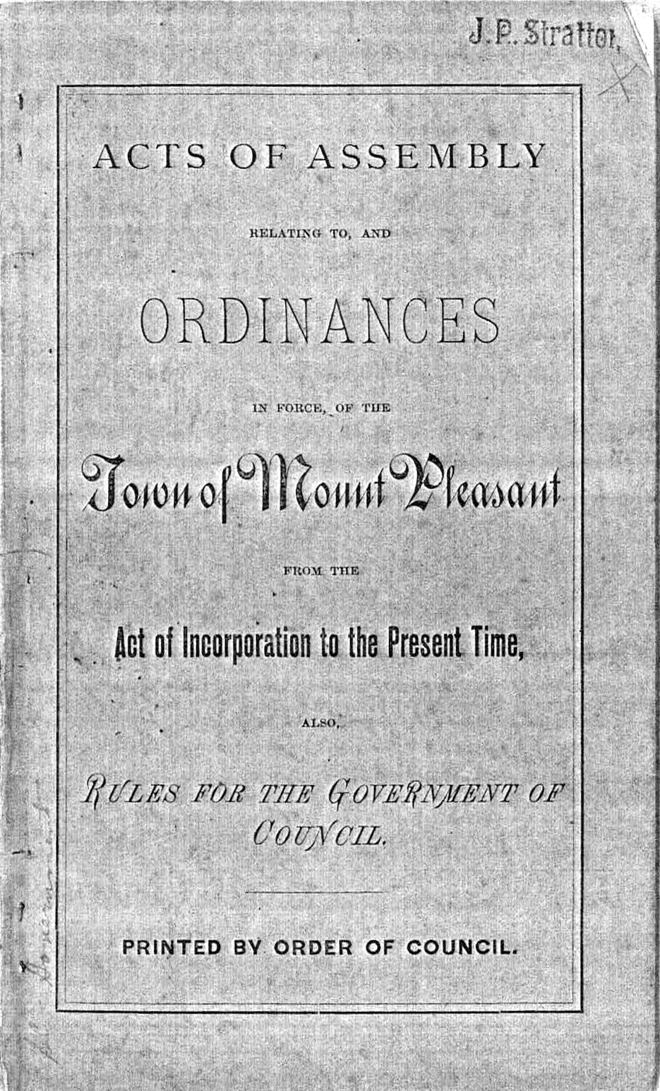 Town Acts and Ordinances