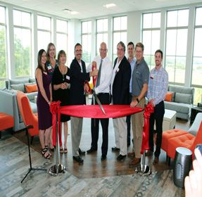 Ribbon cutting group